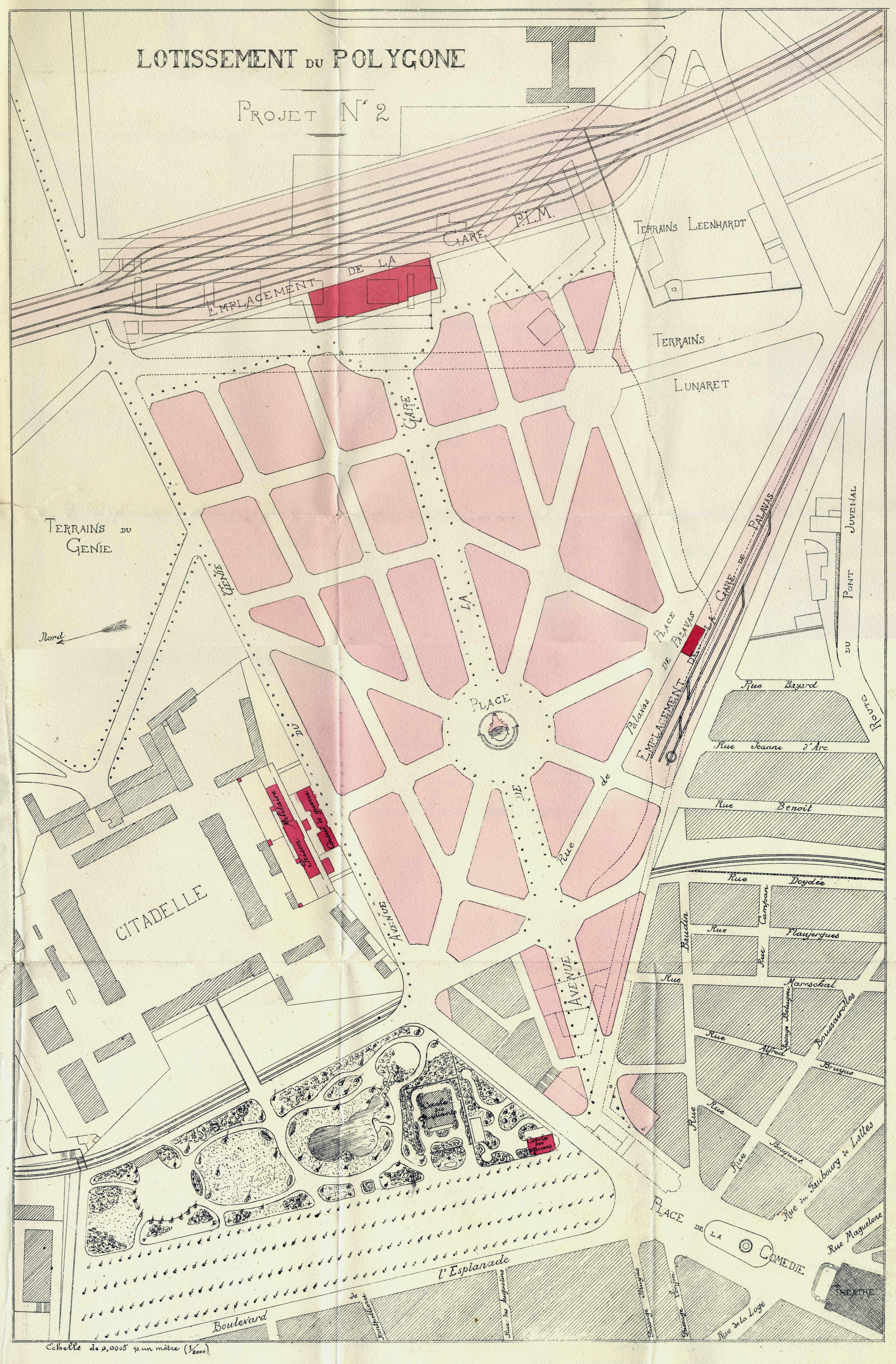 Projet de lotissement du polygone, 1901.