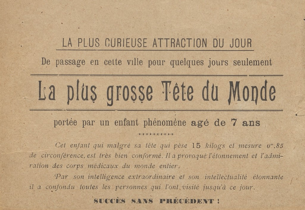 Programme de l'attraction La plus Grosse tête du monde, 1903. AMM, série F