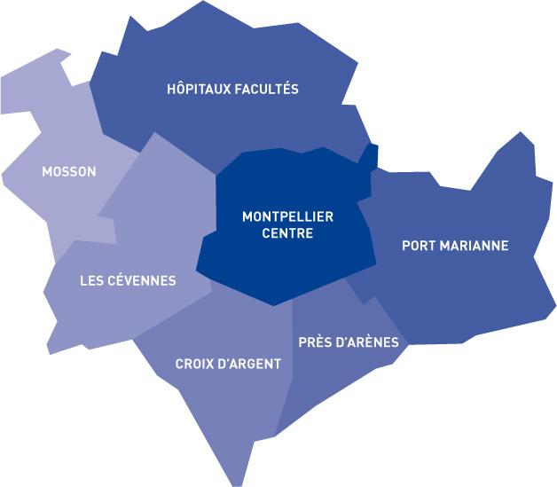 Mapa de onde ficar em Montpellier