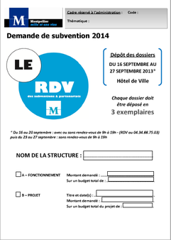 Associations: demande de subvention 2014