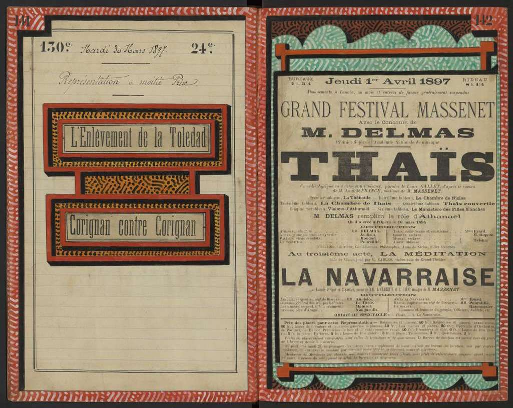 Grand Festival Massenet à Montpellier le 1er avril 1897. AMM, collection Gilles 9S7 073